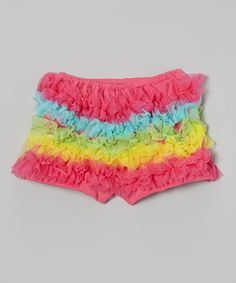 Another great find on #zulily! Rainbow Ruffle Shorts - Infant, Toddler & Girls by Under The Hooded Towels #zulilyfinds