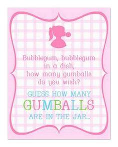Bubblegum Blow-Out Decor. Guessing Game