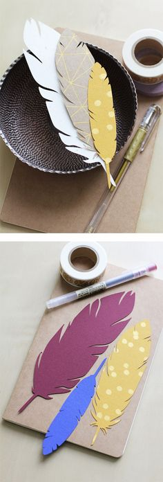 Leuk als bladwijzer ! Paper feather gift tags - I could see turning these into door tags.maybe adding an inkwell and turning the hall into an antique/library theme. Diy Paper, Paper Art, Paper Crafts, Diy Marque Page, Scrapbook Paper, Scrapbooking, Paper Feathers, Diy Bookmarks, Bookmark Ideas