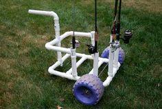 homemade PVC fishing cart