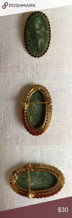 Vintage brooch Beautiful oval vintage brooch.  Marked 1/20 12KGF. Unsure what the lovely green stone is. (EX) Vintage Jewelry Brooches