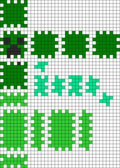 3D MInecraft Creeper perler bead pattern
