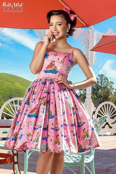 Sixties Style Swing Day Dress in Fantasy Neverland Cotton Sateen | Pinup Girl Clothing