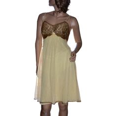 1960s Vanity Fair Pale Yellow Chiffon & Deep Gold Lace Lingerie Nightgown @rubylanecom #vintagebeginshere #vintage