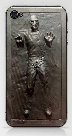 "Steve Jobs frozen in an iPhone-shaped ""block"" of carbonite. #starwars #apple #mashup"