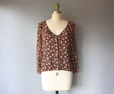 vintage 90s floral ruffle blouse / button down crepe by GazeboTree