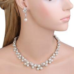 Amazon.com: EVER FAITH Austrian Crystal CZ Cream Simulated Pearl Victorian Style Necklace Earrings Bracelet Set Clear: Jewelry