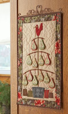 """How adorable is this """"Twelve Days of Christmas"""" wall hanging?  With Pears! - I have patterns for each of the 12 days - this would be so neat to do...."""