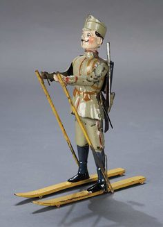 Very Rare Painted Tin Mechanical Toy,Soldier on Skis,by Gunthermann
