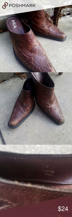 MIA Leather Western Cowboy Boot Mules - Unique - 8 These are a great and unique pair of MIA Leather Western Cowboy Boot Mules. Rich brown color leather with etched details. In excellent pre-loved condition. Size 8 Mia Shoes Mules & Clogs