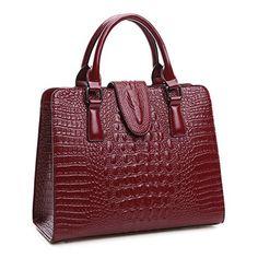 Zebella New Office Lady Luxury Fashion Crocodile Shiny Top Handle Tote Crossbody Shoulder Satchel Handbag Purse Wallet for Women ** Visit the image link more details.
