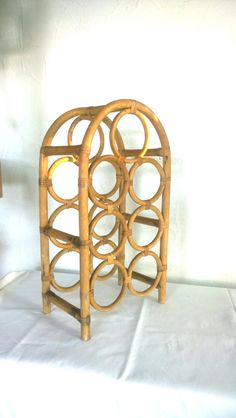 Bottle rack rattan bamboo vintage