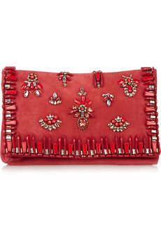 Matthew Williamson Embellished suede clutch | THE OUTNET
