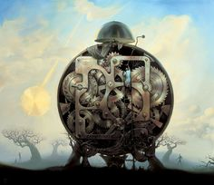 Vladimir Kush millenium watchman painting is shipped worldwide,including stretched canvas and framed art.This Vladimir Kush millenium watchman painting is available at custom size. Vladimir Kush, Salvador Dali, Millenium, Steampunk, Statues, Surrealism Painting, Modern Surrealism, Sculptures For Sale, Beautiful Drawings