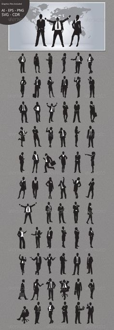 Business People Silhouettes — Vector EPS #template #set • Available here → https://graphicriver.net/item/business-people-silhouettes/4708134?ref=pxcr