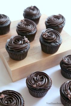 Rich, moist and oh so delicious! Dark Chocolate Espresso Cupcakes Recipe | VanillaAndBean.com