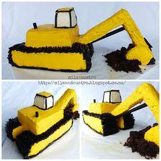 mila + cuatro: How to make a digger cake [Excavator cake] I'm going to attemp. mila + cuatro: How to make a digger cake [Excavator cake] I'm going to attempt to make it Digger Birthday Cake, Digger Cake, 3rd Birthday Cakes, 4th Birthday, Digger Party, Birthday Ideas, Bulldozer Cake, Cupcake Cakes, Cupcakes