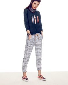JUN '14 Style Guide: J.Crew women's linen surfboard sweater and pull-on pant in arrow ikat.