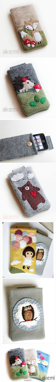 Cute felt patch iphone sets - would make cute eyeglass cases; size might need to be adjusted Pochette Portable, Diy Pochette, Fabric Crafts, Sewing Crafts, Sewing Projects, Felt Case, Felt Embroidery, Wool Applique, Felt Fabric