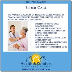 Health & Comfort Home Care provides elder care services in NJ. Elder care, also referred to as geriatric care, or senior care, is the heart of our business @Health & Comfort Home Care.com. #hchomecare #homecareagency in #newjersey #eldercare #eldercareservices #homecare