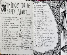 50 things to be happy about -great idea for journal - if you are sad, list 50 things you would be unhappy without!