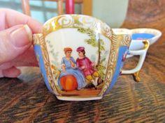 Antique Dresden Quatrefoil Helena Wolfsohn Blue Demitasse Cup And Saucer 11