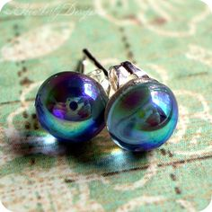Oil Slick petite vintage glass sterling silver by HeatherlyDesigns, $11.00