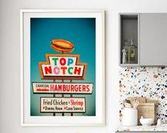 Austin Texas Wall Art Top Notch Hamburgers Vintage Sign | Etsy