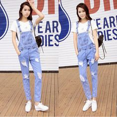2014 Fashion Women Jeans 100% Cotton Blue Ripped Jeans  Plus Size Hole Denim Overalls For Women $24.86