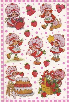 Vintage Strawberry Shortcake stickers I still have a sheet of these. Strawberry Shortcake Characters, Vintage Strawberry Shortcake, 1980s Childhood, Childhood Memories, Cartoon Tattoos, Dibujos Cute, Rainbow Brite, American Greetings, Wall Collage