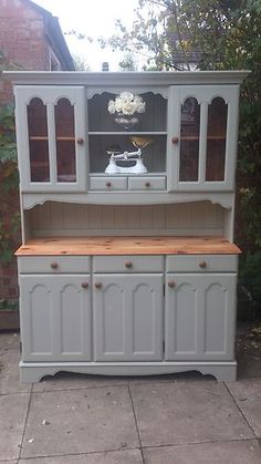 RUSTIC SOLID PINE FARMHOUSE KITCHEN WELSH DRESSER SHABBY CHIC PAINTED F | eBay