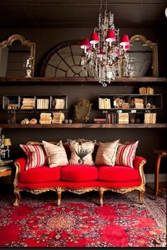 Red sofa as the most fitting piece of furniture for any interior - Decoration Solutions Decor, Boho Living Room, Sweet Home, Red Sofa, Furniture, Interior, Home Decor, House Interior, Living Spaces