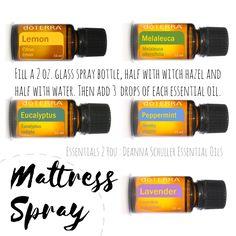 Essential oil mattress spray to refresh that bed! #essentials2you #deannaschuller #doterra #essentialoils www.mydoterra.com/deannaschuller