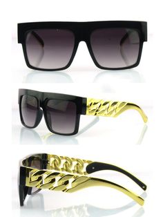 Metal Arm!  New 2014 Kim Kardashian Beyonce Celebrities Style Flat Top Men Women Metal Gold Chain Twisted Riskier Sunglasses-in Sunglasses f...