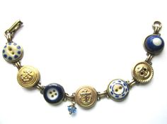 NAVAL ACADEMY, NAVY antique button bracelet