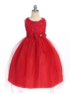 Girls Dress Style Sleeveless Tulle Dress in Choice of Color Red Flower Girl Dresses, Girls Fancy Dresses, Girls Designer Dresses, Tulle Flower Girl, Dresses For Less, Special Dresses, Cheap Dresses, Flower Girls, First Communion Dresses