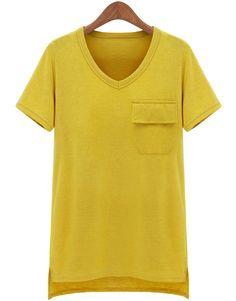 Yellow Short Sleeve Pocket Asymmetrical T-Shirt US$24.18