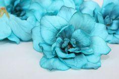 5 silk DELPHINIUM Blossoms in Turquoise Aqua от SimplySerraFloral