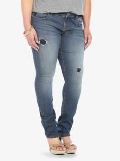 Torrid Super Skinny Stiletto Jean - Medium Wash with Destruction
