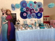 Frozen theme candy buffet table