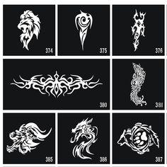 30 pçs/lote Glitter Estêncil Do Tatuagem Do Airbrush Templates, Flores…