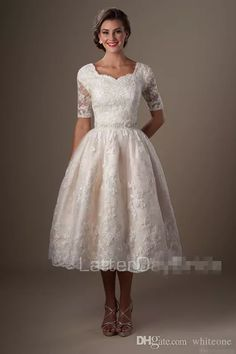 500ea99b98fa Vintage Champagne Lace Tea Length Short Wedding Dresses With Half Sleeves  Puffy A Line Reception Informal Modest Country Bridal Party Gowns Wedding  Dress ...