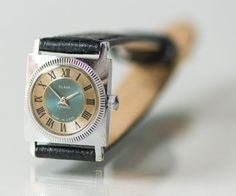 Square woman's watch Glory wristwatch silver tone by SovietEra