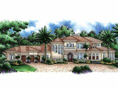 Eplans Mediterranean House Plan - Gorgeous Work of Art - 5604 Square Feet and 4 Bedrooms from Eplans - House Plan Code HWEPL14422
