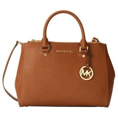 Michael Michael Kors Sutton Medium Brown Satchel ($325) ❤ liked on Polyvore featuring bags, handbags, brown, brown leather handbags, michael kors satchel, genuine leather handbags, brown purse and brown handbags
