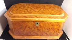 """Vintage Wooden Octagon Large Jewelry Trinket Box w/ Mirror and a tray 12.5"""" #Unbranded"""