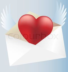 Stock vector of 'On a blue background in a white envelope flying crimson heart'