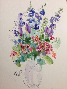 Fleurs dans une carte aquarelle de Vase par gardenblooms sur Etsy