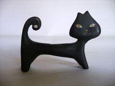 Vintage black cat figure