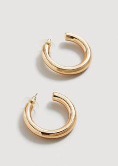 Mango Hoop Earrings - Gold One Size Wing Earrings, Sterling Silver Earrings, Silver Jewelry, Statement Earrings, Diamond Solitaire Earrings, Diamond Studs, Outfit Zusammenstellen, Outfit Ideas, Mango